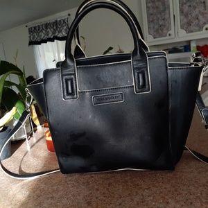 Vera Bradley black leather shoulder bag.